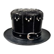 Plague Doctor Hat Halloween Hat Vintage Steampunk Hat PU Leather Flat Top Party Cosplay Hat For Stage Show Magic Show halloween cosplay steampunk plague doctor mask bird beak props gothic masks