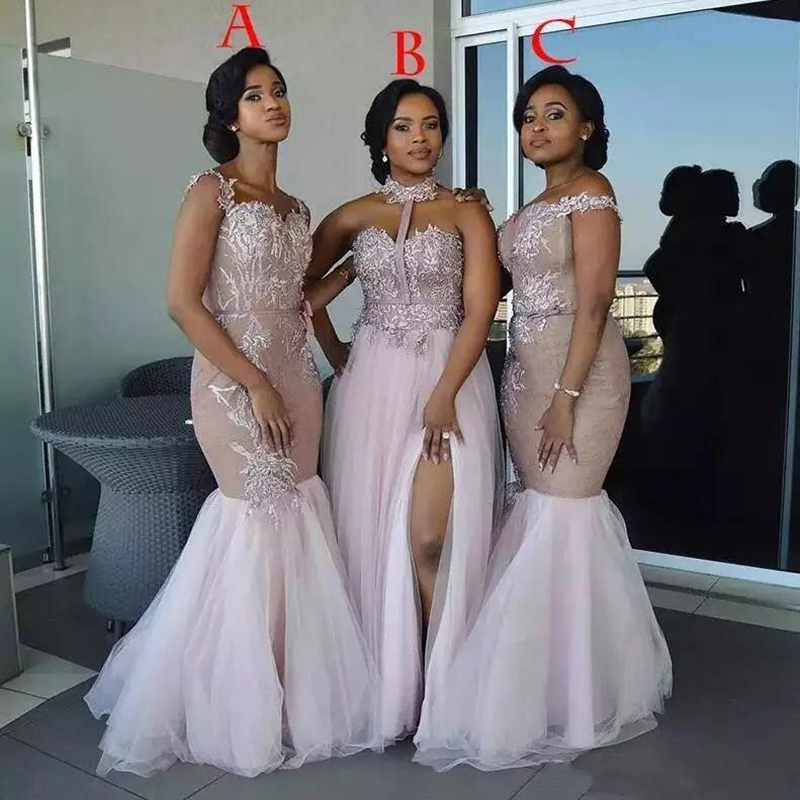 Customized 3 Style African Mermaid Pink Bridemaid   Dresses   Lace Appliqued Tulle Prom   Dresses   Wedding Party Gowns