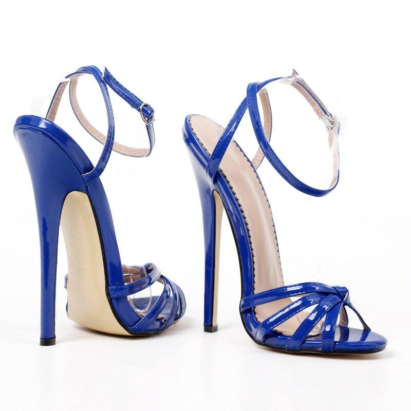 super alto de 18cm, sandália no tornozelo, sapatos de salto alto