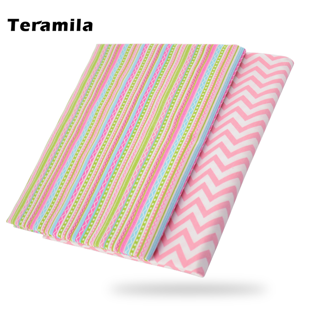 Teramila Cute Stripe Cotton Fabric Home Textile Decor Bedding Clothing Quilting Patchwork Scrapbooking Doll Sewing Cloth