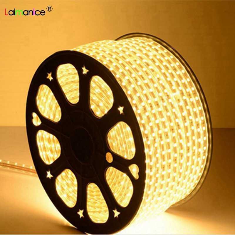 1M-100M SMD 5050 AC220V Led Strip Tape Waterproof Flexible Bar Lights 60 Led/M With EU Plug home Outdoor Indoor Decoration lamp