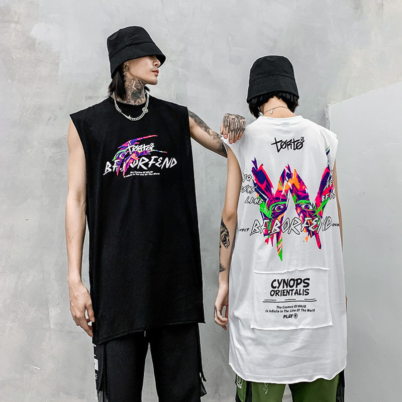 Männer Street Hip Hop Rock-Sleeveless <font><b>T</b></font>-<font><b>shirt</b></font> <font><b>Tops</b></font> <font><b>Tank</b></font> Männlichen Graffiti Print High Street Fashion Casual Lose Tees <font><b>Shirts</b></font> image