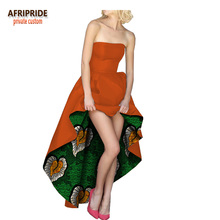 2018 african print summer women dress AFRIPRIDE customized ankle length strapless for short in the front A1825013