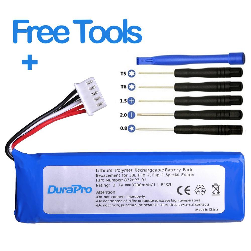 DuraPro 3.7V 3200mAh batterie GSP872693 01 batterie Rechargeable pour JBL retournement 4, retournement 4 édition spéciale