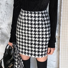 Twill Skirts Women Fashion Casual Houndstooth Skirt Women El