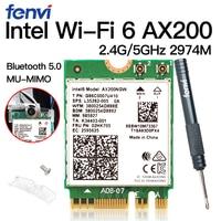 M.2 sem fio wifi 6 intel ax200 2974 mbps bluetooth 5.0 wlan 802.11ax MU-MIMO ngff computador portátil rede wi-fi cartão ax200ngw windows 10
