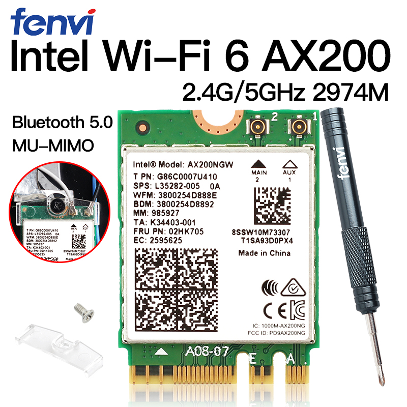 Wireless M.<font><b>2</b></font> Wifi 6 <font><b>Intel</b></font> <font><b>AX200</b></font> 2974Mbps Bluetooth 5.0 Wlan 802.11ax MU-MIMO NGFF Laptop Network Wi-Fi Card AX200NGW Windows 10 image