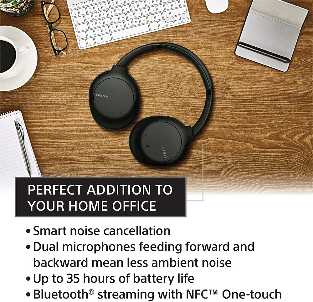 FULL NEW ! SONY Noise Cancelling Headphones WHCH710N: Wireless Bluetooth Over The Ear Headset with Mic for Phone-Call