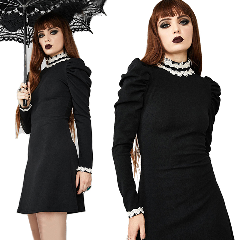 Imily Elegant Mini Dress Women Vintage Stand Collar Lace Patchwork Long Puff Sleeve Ruffle Black Dress Autumn Winter Vestidos