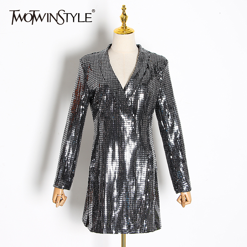 TWOTWINSTYLE Patchwork Sequined Blazers For Female Notched Long Sleeve Tunic Slim Women's Suits 2020 Clothing Fashion Tide