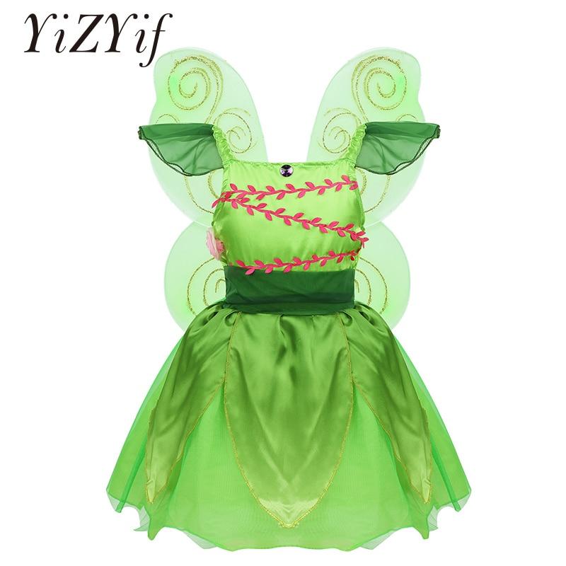 Kız Peri Kostüm Kap Kollu Rhinestone 3D Çiçekler örgü elbise Ayrılabilir Glitter Kanatları Cadılar Bayramı Giyinmek Cosplay
