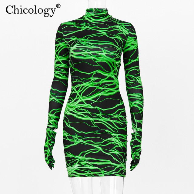 Neon lightning print Mini dress 5