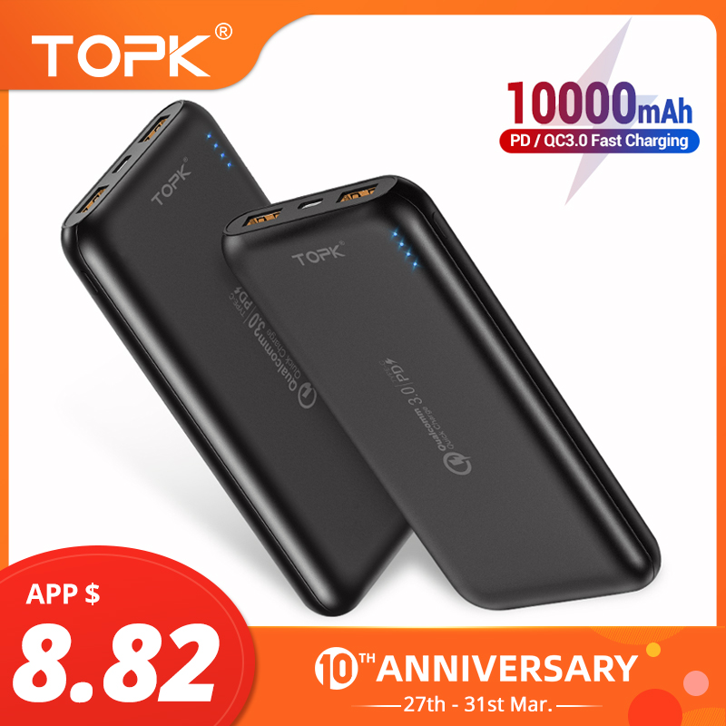 TOPK 10000mAh Power Bank 18W Quick Charge 3.0 Type C PD Fast Charging Powerbank External Battery Charger For Mobile Phones