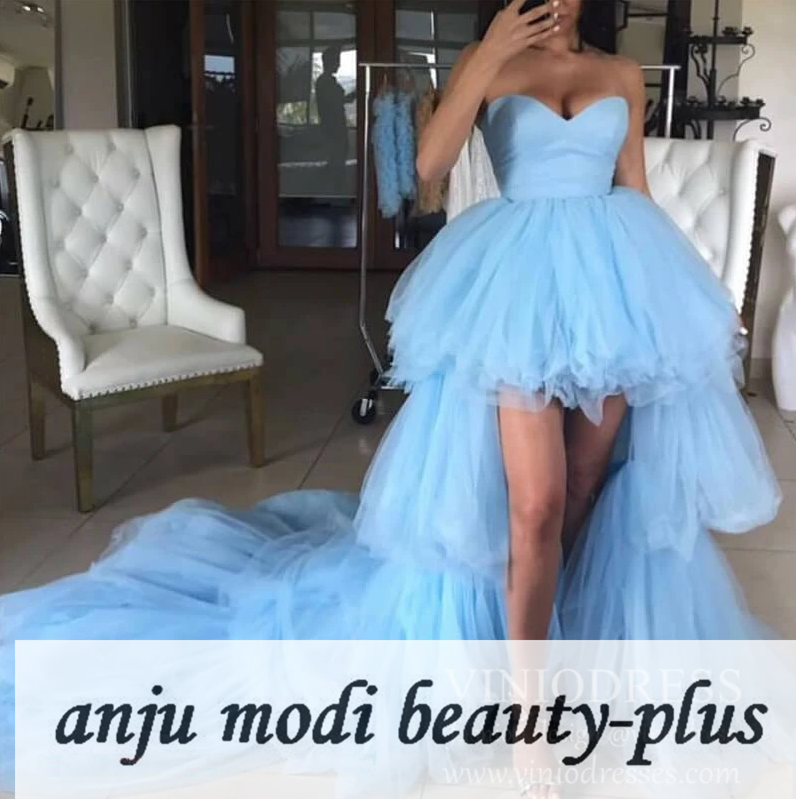 2020 Light Blue High Low Prom Dresses Strapless Sleeveless Tiered Puffy Formal Evening Party Ball Gown Robe De Soiree