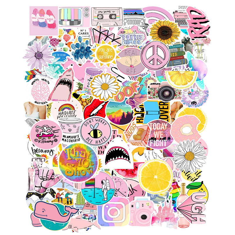 100PCS Cartoon Pink VSCO Girl Stickers For Chidren Toy Waterproof Sticker To DIY Suitcase Laptop Bicycle Helmet Car Decals F5