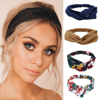 Vintage Women Headband Cross Knot Elastic Hair Bands Soft Print Floral Girls Hairband Long Ribbon Hair Scarf Hair Accessories image
