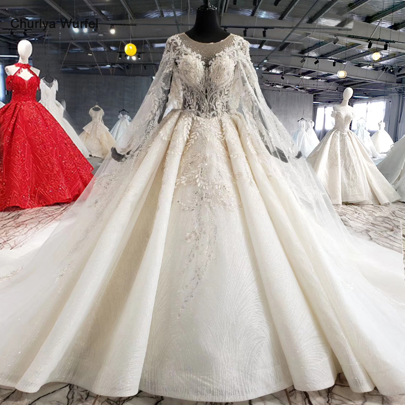 HTL1004 Vintage Wedding Dress With Cape Illusion O-neck Sleeve Shawl Lace Up Back Beads Bride Wedding Gowns Luxury Robe Mariee