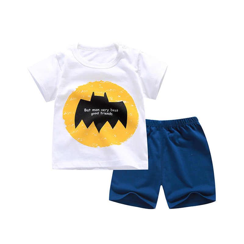 6M-6 ปี 2 ชิ้น/เซ็ตเด็กชุดเด็กฤดูร้อนแขนสั้นกางเกงชุดผ้าฝ้ายสำหรับเด็กและหญิงเสื้อผ้าเด็ก