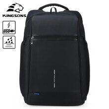 Kingsons Men Backpack Waterproof USB Charging Laptop Backpack 15-15.6/17-17.3 inch Large Capacity School Bags for Teenage Boys