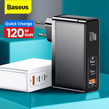 Baseus 120W GaN SiC USB C Charger Quick Charge 4.0 3.0 QC Type PD Fast For Macbook Pro iPad iPhone Samsung Xiaomi - discount item  50% OFF Mobile Phone Accessories