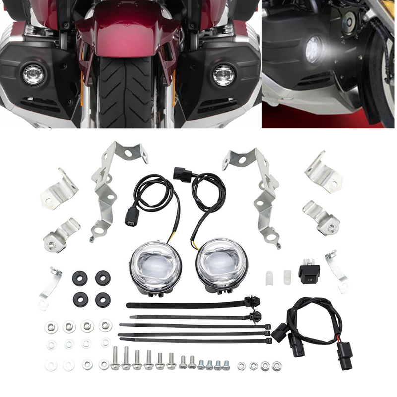 Motorcycle ABS Plastic Clear LED Foglights Attachment Kit For Honda Goldwing GL1800 2018-2019