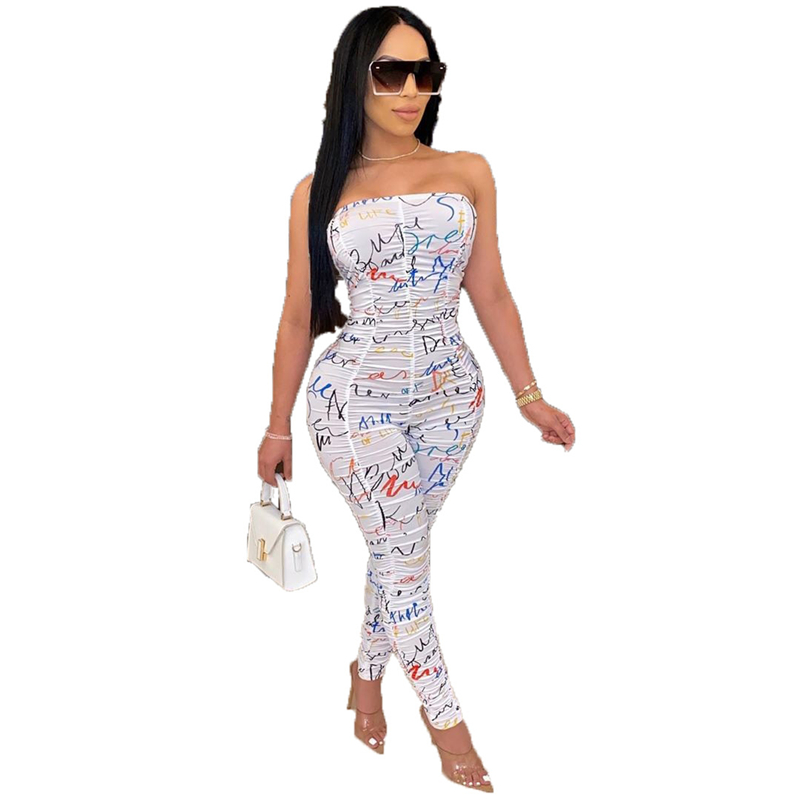 Adogirl Letter Print Ruched Strapless Jumpsuit 2020 Summer New Women Sexy Skinny Romper Casual Overalls Night Club Bodysuits