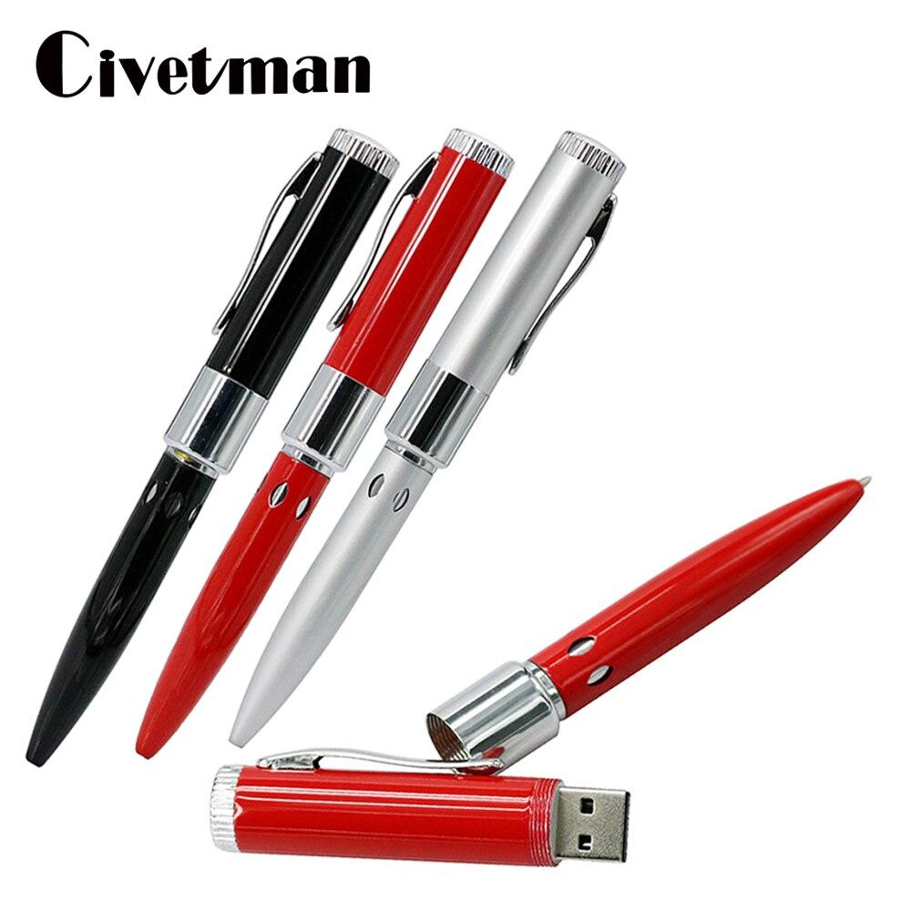 Metal Ballpoint Pen USB Flash Drive 4GB 8GB 16GB 32GB 64GBMemory Stick Pen Drive USB2.0 Flash Memoria USB Stick External Storage