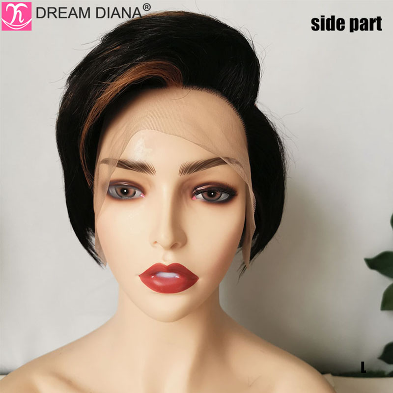 DreamDiana Remy Brazilian Hair Bob Straight Wig Lace Front Human Hair Wig 150 Density Preplucked Ombre Lace Front Wig Glueless L