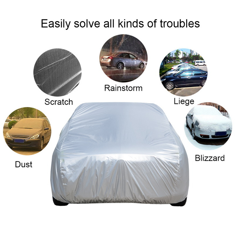 Universal Full Car Covers Snow Ice Dust Sun UV Shade Cover Light Silver Auto Outdoor Protector Covers Dust Rain Resistant
