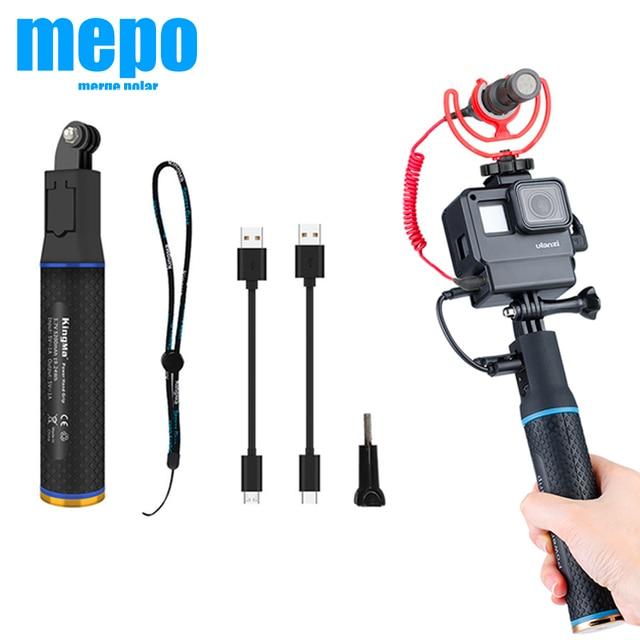 กีฬากล้องPower Bank Hand Grip MonopodสำหรับGoPro Hero 9 8 7 Sjcam Yi EKEN DJI Osmo Actionกระเป๋า2เครื่องชาร์จแบตเตอรี่Handle