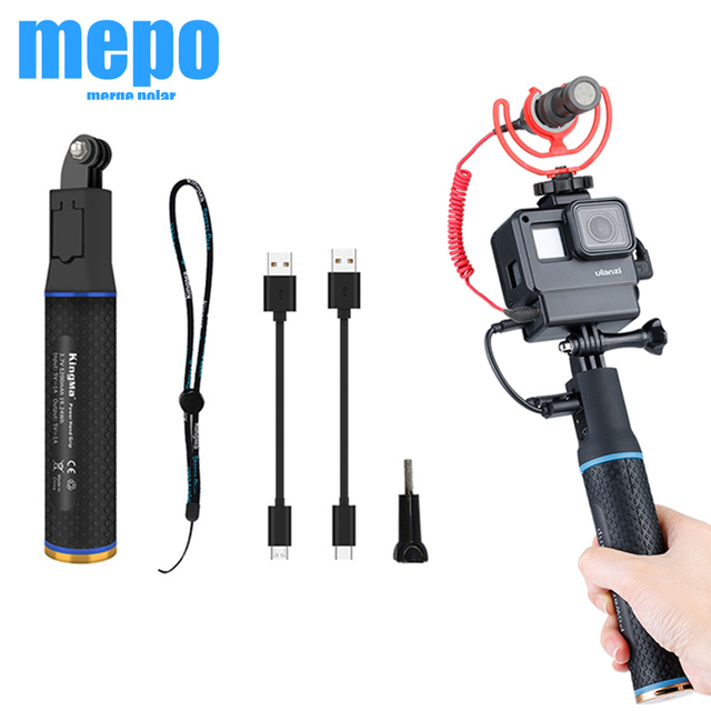 Sports Camera Power Bank Hand Grip Monopod For GoPro Hero 9 8 7 Sjcam Yi EKEN DJI Osmo Action Pocket 2 Extension Charger Handle