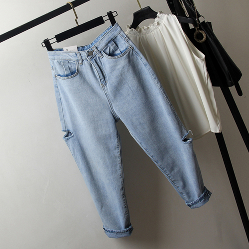 Spring Summer New Korea Fashion Women Loose Jeans Blue Vintage Ripped Jeans All-matched Casual Denim Jeans Pants Plus Size S509