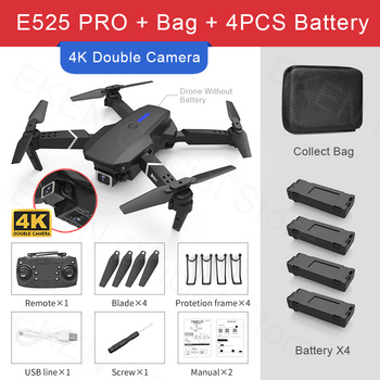 E525 PRO RC Quadcopter Profissional Obstacle Avoidance Drone Dual Camera 1080P 4K Fixed Height Mini Dron Helicopter Toy 11
