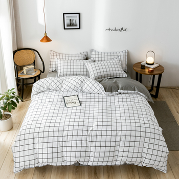Classic bedding set 5 size grid bed cotton 4pcs/set AB side duvet cover set Pastoral bed sheet 2020 allover grid print sheet set