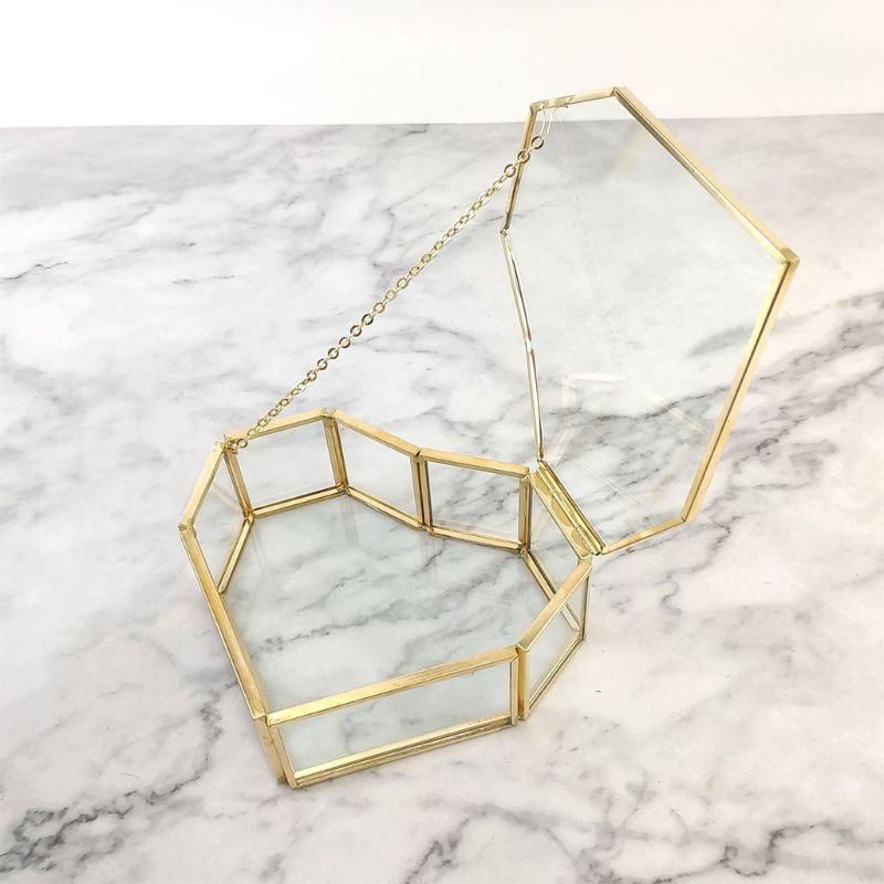 Wedding Ring Box Storage Box Glass Terrarium Jewelry Box Greenery Glass Ring Bearer Succulent Ring Box for Wedding Ceremony Box