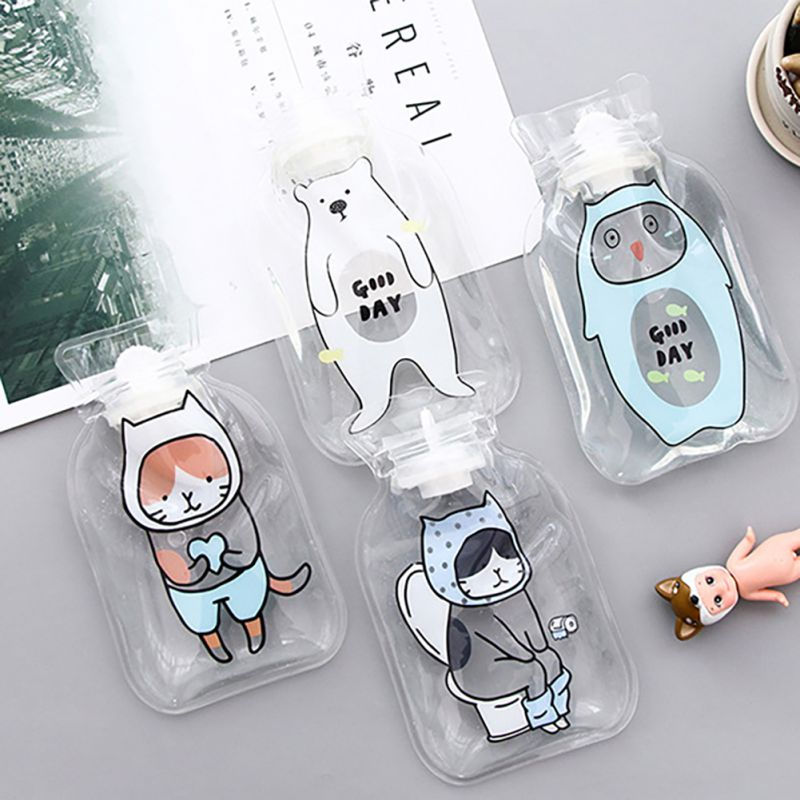 Cartoon Kawaii Animal Transparent Hand Po Warm Water Bottles Portable Hand Feet Warming Water-filling Hot Water Bag Bottles