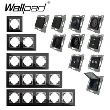 EU DIY Black Crystal Glass Push Button Reset Curtain USB Cat 6 EU French Switch Socket Round Back Wallpad L6 Fit EU Box