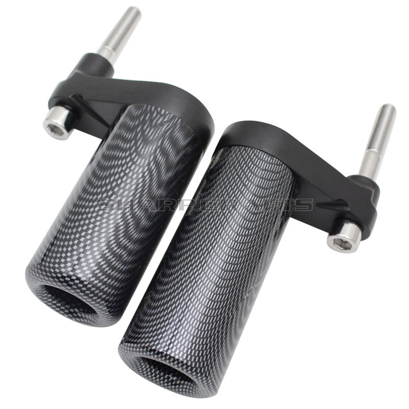 Motorcycle Parts Carbon No Cut Frame Sliders Crash Falling Protection For <font><b>Yamaha</b></font> YZF <font><b>R1</b></font> YZFR1 YZF-<font><b>R1</b></font> <font><b>2007</b></font> 2008 YZF1000 <font><b>2007</b></font>-2008 image