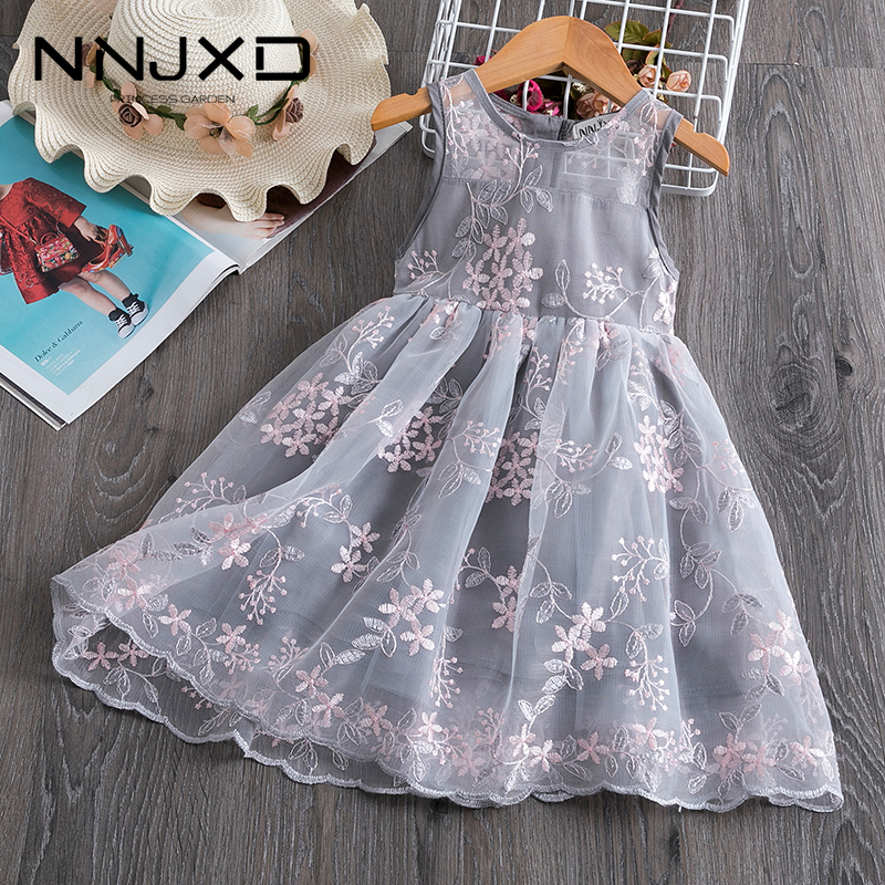 Summer Princess Voile Tulle Dress Teenager Graduation Ball Gown Floral Embroidery Formal Party Dress Kids Vestido 3-8 Years
