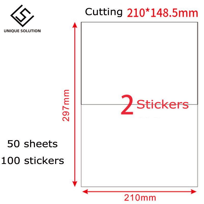 Free Shipping 100 Half Sheet Shipping Address Labels For Laser Ink Jet Self Adhesive A4 Size