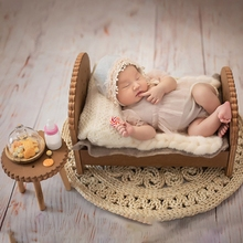 Newborn Detachable Bedside Table Baby Photo Shooting Handmade Wooden Cookie Desk H05C