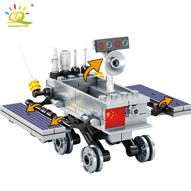 HUIQIBAO 702PCS Space Lunar Lander probe Building Blocks 2 Astronaut figure City Aerospace model Bricks Toys For Children friend