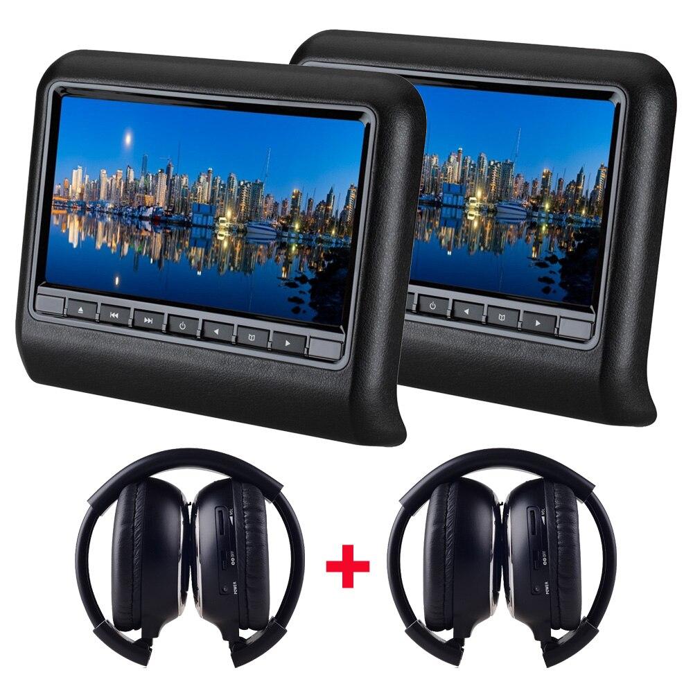 2 шт. X 9 дюймов HD Автомобильный подголовник dvd-плеер подголовник TFT ЖК-экран RCA монитор аудио видео Encosto de Cabeca com DVD - Цвет: Черный