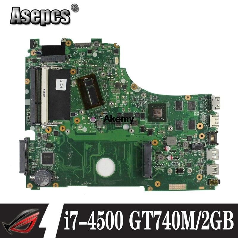 Материнская плата для ноутбука ASUS A750J K750J K750JB X750JB X750JN тест 100% ОК i7-4500 GT740M/2 ГБ свободный радиатор + 4 Гб ram