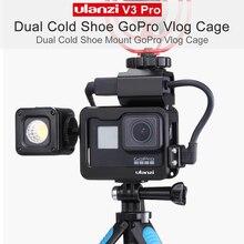 Металлический Чехол Ulanzi V3 Pro Vlog, клетка для Gopro Hero 7 6 5, Оригинальные аккумуляторы для микрофона, адаптер для Gopro