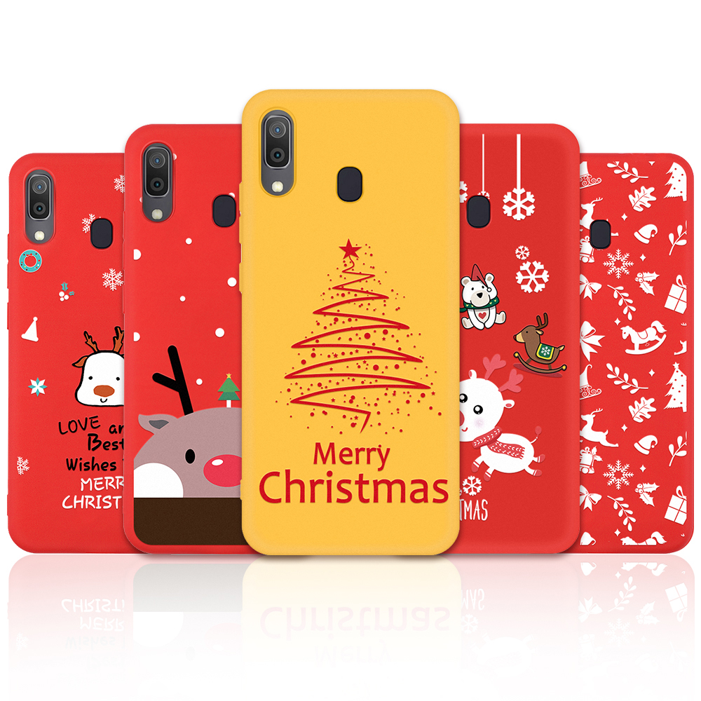 Cartoon Christmas Pattern Case For <font><b>Samsung</b></font> Galaxy A20 A30 A50 A70 A7 A750 <font><b>A2018</b></font> A10 Deer & Snowman Soft TPU Cover Case Gift image