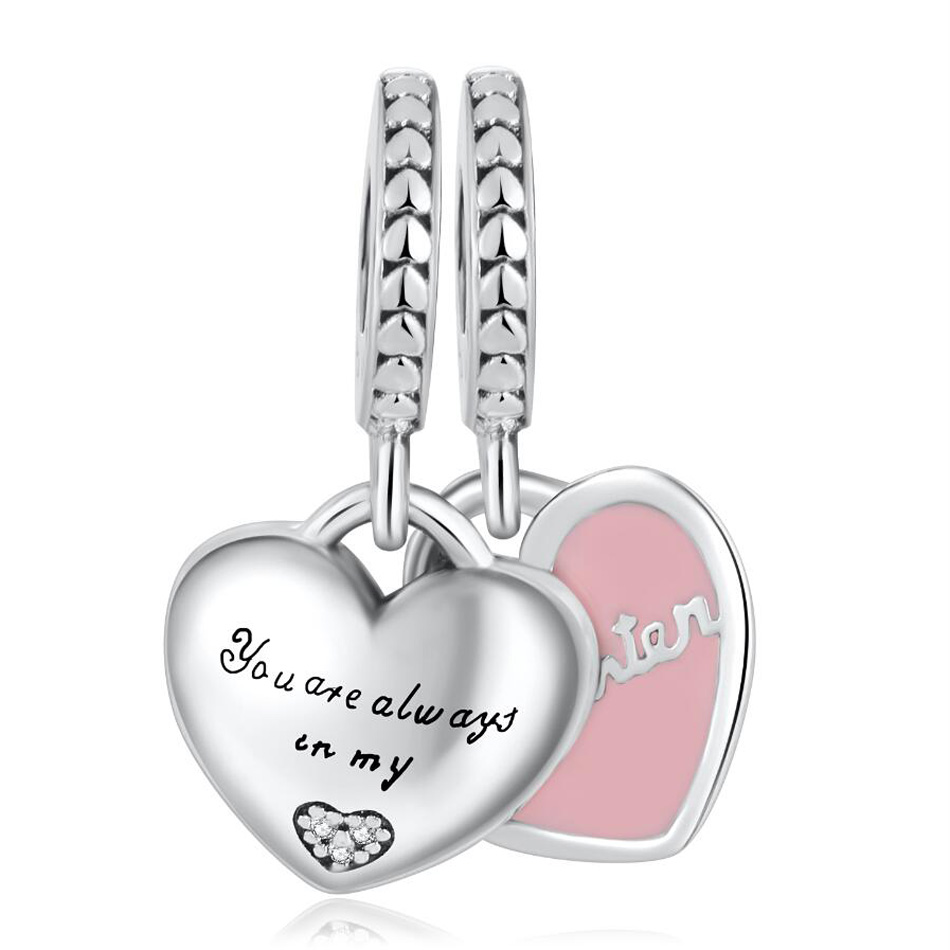 S925 Pendant Bead Mother & Daughter Hearts Dangle Charm fit Pandora Bracelet Bangle Pink Enamel(China)