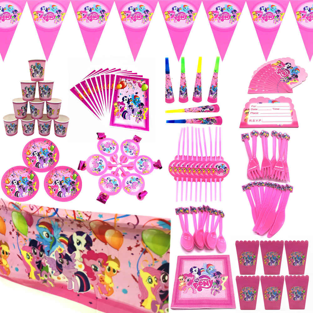 My Little Pony Birthday Party Supplies Pink Hat Napkins Plates Party Decor Balloon My Little Pony Theme Party Kids Tableware Set
