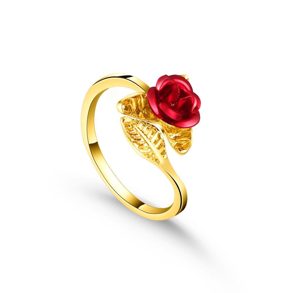 Кольцо женское золотое с изменяемым размером, в виде цветка и листьев красной розы, подарок на день Святого Валентина, 2019