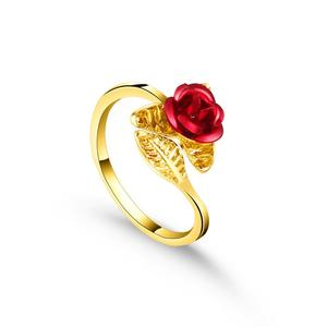 Red Rose Garden Flower Leaves Resizable Gold Finger Rings Valentine's Day Gift Jewelry Hot Sale 2019 Open Rings for Women(China)